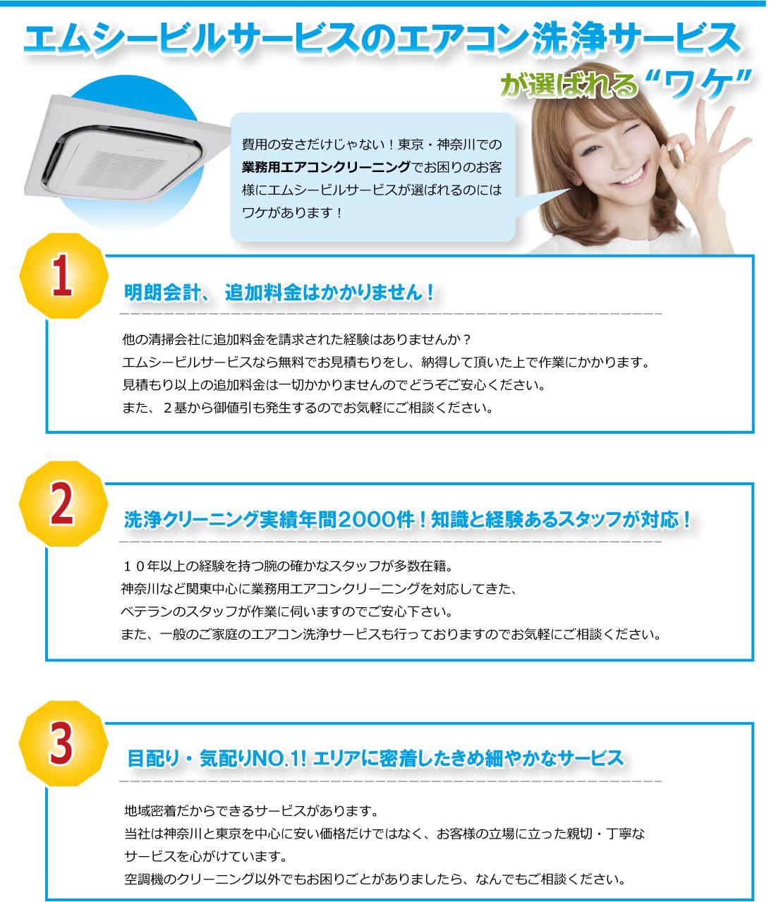 エムシービルサービスのエアコン洗浄サービスが選ばれるワケ。明朗会計、追加料金は掛かりません。洗浄クリーニング実績年間2000件!知識と経験あるスタッフが対応!神奈川・東京と地域密着したきめ細やかなサービス