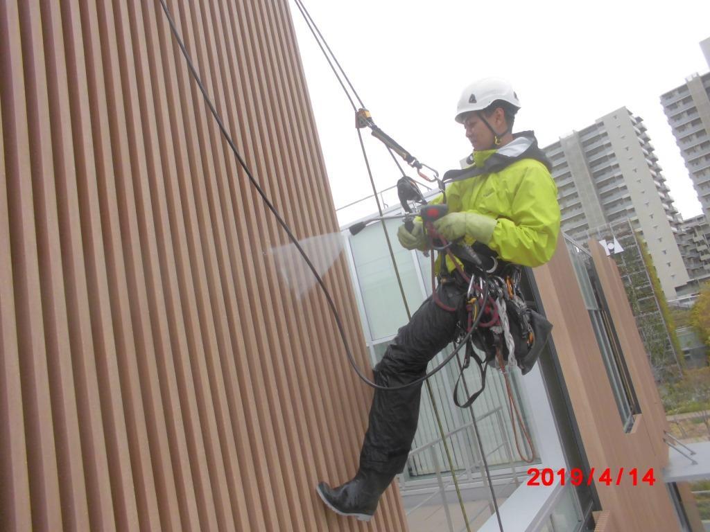 ロープ高所外壁洗浄_7