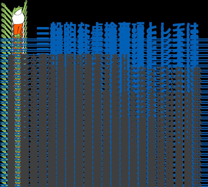 一般的な点検事項としては!◆ 貯水槽の周囲が清潔であり、   ゴミや汚物等が置きっ放しになっていないか ◆ 貯水槽にヒビ割れや亀裂が入っていないか ◆ 貯水槽の壁面に汚れ、異物はないか ◆ 貯水槽の外壁が劣化していることによって   光が透過している状態ではないか ◆ 雨水、汚水などが入り込む隙間がないか