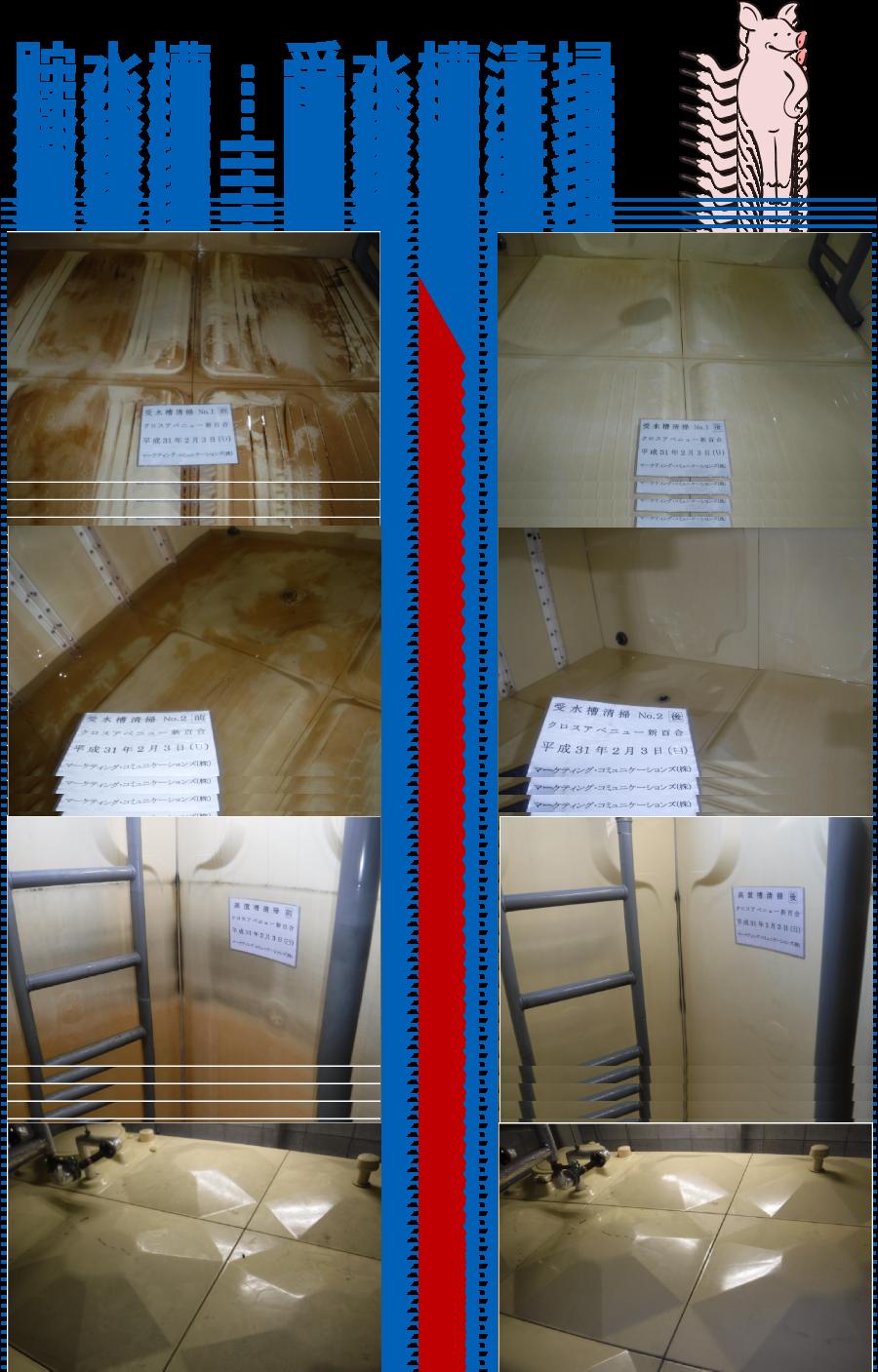 貯水槽清掃・受水槽・高架水槽ビフォーアフター