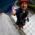 【Gopro】見ているとハラハラする?!10階建てのオフィスビルのロープでのガラス清掃